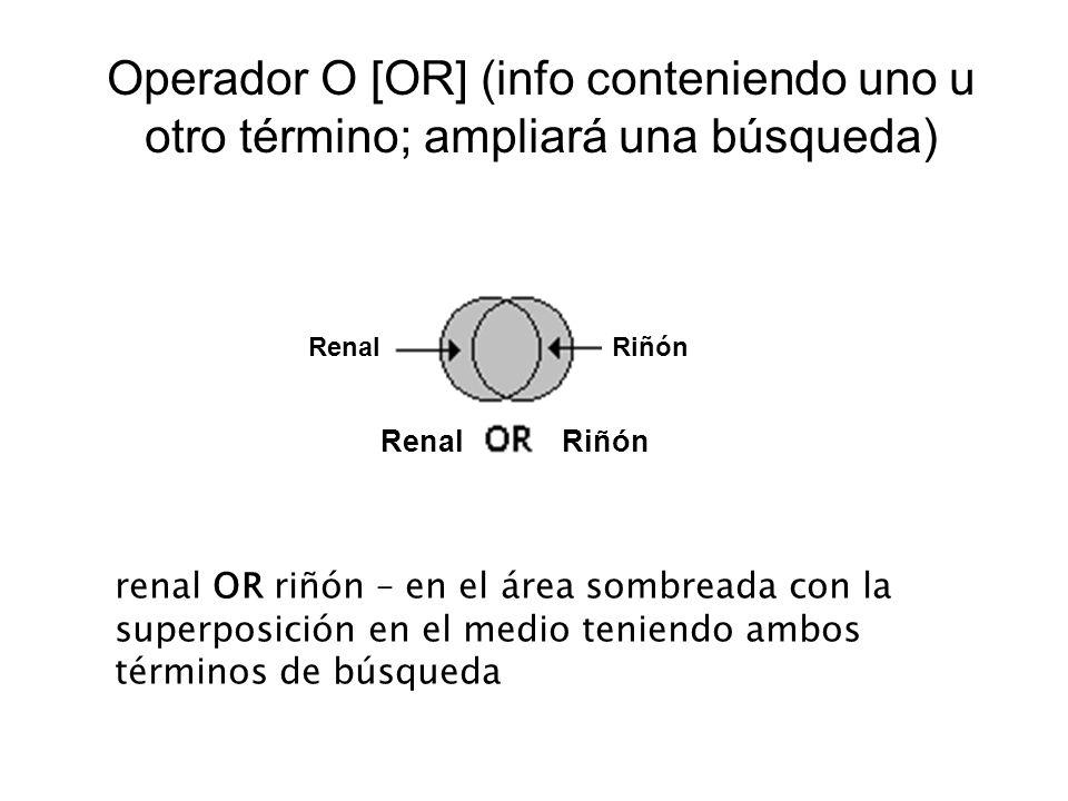 Operador O [OR] (info conteniendo uno u otro término; ampliará una búsqueda)